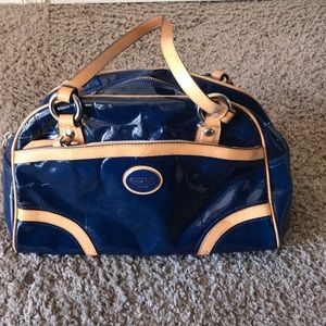 Coach Peyton embossed satchel purse blue